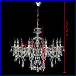 10 Arms Crystal Glass Chandelier Ceiling Pendant Lamp Cognac Light E14 Large