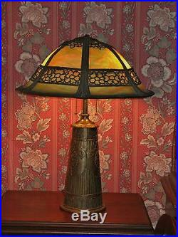 1910 Arts Crafts Extra Large Antique Green Slag Glass Table Lamp Fancy Base
