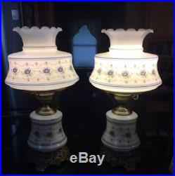 1973 Pair of Quoizel Blue Poppy Abigail Adams Large Table Hurricane lamps