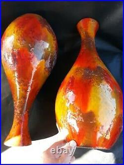 2 Large Vintage Rare Matching Pair Lamp MID Century Lava Glazed Ceramic Pottery