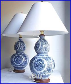2 Ralph Lauren Large Zen Koi Fish Porcelain Ceramic Round Blue White Table Lamps