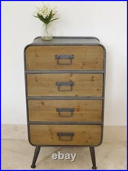 4 Drawers Large Cabinet Retro Industrial Style Lamp End Table Bedside Storage