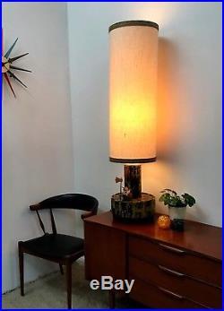 60s Rare vintage retro Dutch large ceramic table floor lamp by Dijkstra Lampen