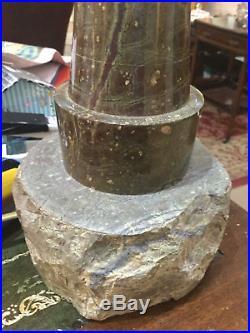 A Large Vinage Serpentine Cornish Marble & Granite Lighthouse Table Lamp C1960
