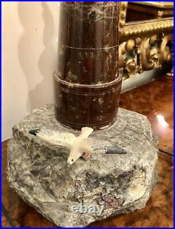 A Large Vinage Serpentine Cornish Marble Lighthouse Table Lamp C1960