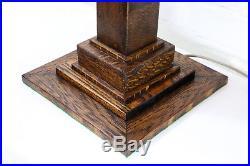 A Large Vintage 1930s English Art Deco Oak Table Lamp Stepped Base Column Design