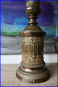 A Pair of Early 20th C Large French Classical Column Brass Hall Side Table Lamps
