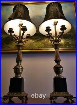 A Pair of Large Gilt Metal Table Lamps in the Form of Candelabra