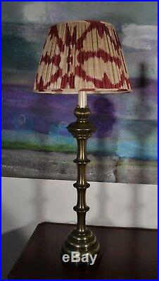 A Pair of Large Indian Column Candlestick Bronze Brass Hall Side Table Lamps