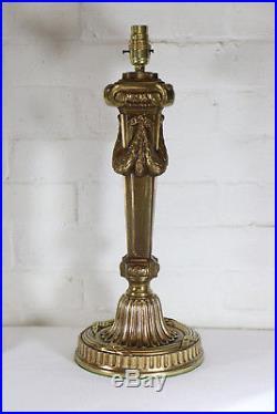 A Pair of Large Vintage Corinthian Column Gilt Brass Table Lamps Antique Style