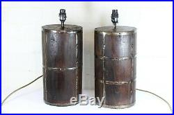 A Pair of Table Lamps Large Ethnic Lamps Wood & Metal Rustic Barrel Effect