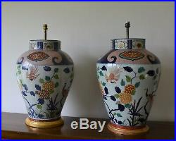 A Pair of Vaughan Lighting Large Imari Vase Brass Gilt Hall Bed Side Table Lamps