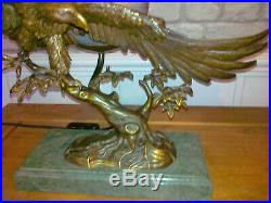 A Stunning Large Andrea By Sadek Bronze Eagle Lamp R. R. P. From £459 Glass Shade