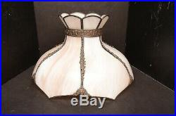 ANTIQUE BENT PANEL SLAG GLASS TABLE LAMP SHADE LARGE 15 Art nouveau deco tulip