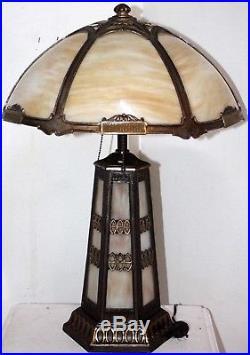 Antique 1920 S Large Arts Crafts Slag Gl Table Lamp Handel Tiffany Era