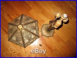Antique Bradley & Hubbard Slag Glass 6 Panel Large Table Lamp Signed Handel Era