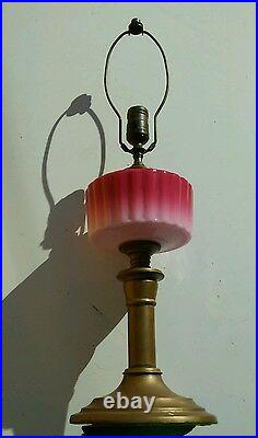 Antique Brass with Pink Glass table / desk Lamp. Vintage Art deco. Rare