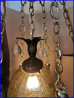 Antique Italian Hollywood Regency HANGING ITALY MARBLE TABLE LAMP Chandelier