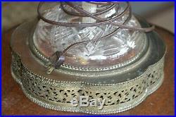 Antique Large Distinctive Blown Hand Cut Leaded Glass Table Lamp, Unique Prisms