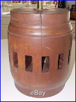 Antique Rustic Hand Made Large Oak Wagon Wheel Hub/barrel Table Lamp