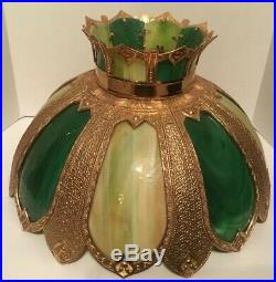 Antique Slag Glass Lamp Tiffany Style Large Table Lamp 33 Inches Tall Gorgeous