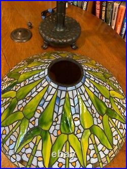 Antique Tiffany Studios Reproduction Arrowroot Leaded glass lamp on Library Base