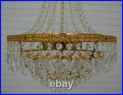 Antique Vintage Brass & Crystals LARGE French Chandelier Lighting Ceiling Lamp