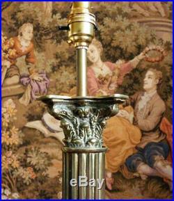 Antique Vintage Brass Table Lamp Corinthian Column Large Heavy Quality Rewired
