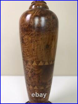 Beautifully Hand Turned Large Vintage Table Lamp Solid Thuya Burr Wood