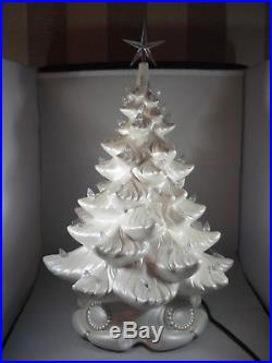 Brand New Large Ceramic White Glittery Xmas Christmas Tree Table