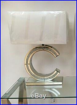 Capri C Large Table Lamp 68cm Mirrored Base White Fabric Shade