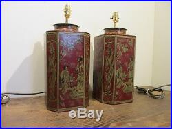 Chinese Style Pair Of Red Tea Tins Caddy Large Matching Pair Of Table Lamps