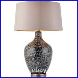 Classic Style Table Lamp Light Black & Grey Speckled Glass & Mink Silk Shade
