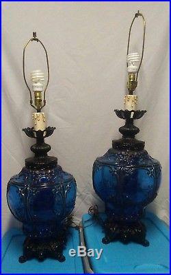 Cobalt Blue Glass Table Lamps Mid Century 1971 Large Vintage VTG 70u0027s Gothic