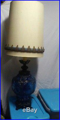 Cobalt Blue Glass Table Lamps Mid Century 1971 Large Vintage Vtg
