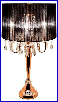 Copper Chandelier Table Lamp Large Black Bedside Lighting Beaumont Lamp
