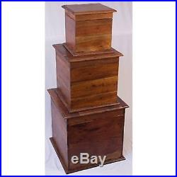 Cube Boxes Storage Chests Trunks Side Lamp Table Toy Box Solid Acacia Wood