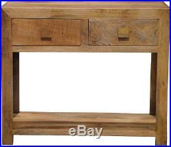 Dakota Solid Light Mango Wood Large Telephone Lamp Hall Console Table