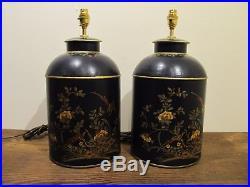 Dark Blue Tea Tin Large Pair Of Table Lamps