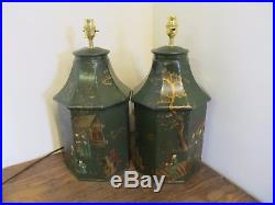 Dark Green Pair Of Tea Tins Tea Caddy Large Pair Of Table Lamps