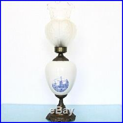 Delft Blue Table Lamp Vintage copper porcelain Dutch Design Impressive! Large