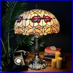 EXTRA LARGE Tiffany style Table lamp with double light fitting