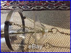 Elegant Large Glass Globe Brass Bell Lantern Hall Table Light Chandelier Lamp