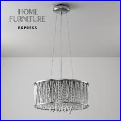Emilia Design Large Crystal Drum pendant Light Chrome RRP £275