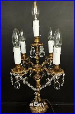 Exceptional Large Heavy PAIR Antique French Cherub Crystal 5 Light Table Lamps