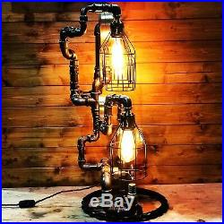 Fantastic Steampunk Industrial Table Lamp, Large Antique Brass Pressure Gauge