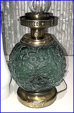 Fenton Art Glass 24 POPPY Gone With The Wind Spruce Green Large GWTW Table Lamp