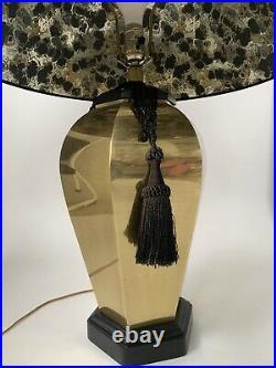 Frederick Cooper Large Brass Ginger Jar Table Lamp Black Shade