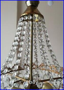 French Basket Style Vintage Brass & Crystals Chandelier Antique Lamp 213-05