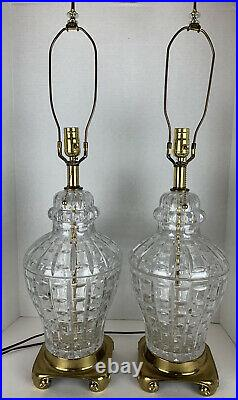 GORGEOUS Vintage Glass Brass Base Large Table Lamp PAIR (2) Hollywood Regency
